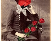 Original Collage on Antique Cabinet Card - My Funny Valentine - Surreal Pop Surrealism Victorian Weird Roses Love Romance Bride Red