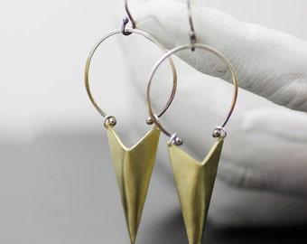 """chandelier earrings - brass and silver """"charred triangles""""  dangle earrings - handmade in seattle by lolide"""
