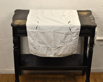 Small Vintage Lace Tablecloth Rectangular White Blue Embroidery W/ Rick Rack Trim Antique Needlework Victorian