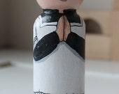 "Altar Boy Peg Doll 3 1/2"" Large Size Black Cassock"