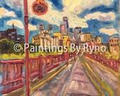 Minneapolis View - Painting, Original Oil, Art, Wall Art, Home Decor, Office Art, Decor, Minnesota, Stone Arch Bridge, City, Cityscape