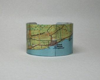 Grand Marais Minnesota Map Cuff Bracelet Lake Superior Unique Gift for Men or Women