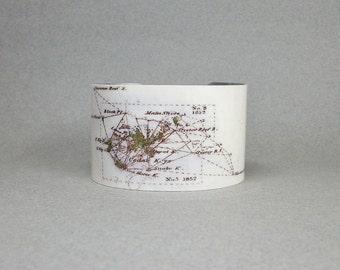 Cedar Key Florida Vintage Nautical Map Cuff Bracelet Wide Metal Unique Gift for Men or Women