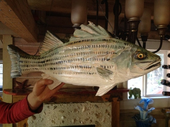 Striped bass wood chainsaw carving lake lodge home