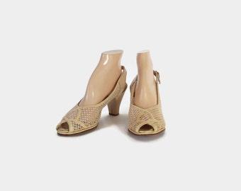 Vintage 40s HEELS / 1940s Ivory Leather & Mesh Peep Toe Wedding Shoes 8 1/2