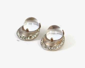 Vintage TRIFARI EARRINGS / Early Crown Trifari Sterling Silver Jelly Belly Rhinestone Clip Earrings