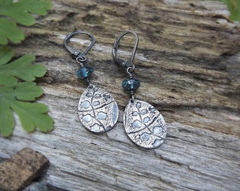 Victorian Garden- Fine Silver Earrings with London Blue Topaz  by Quintessential Arts