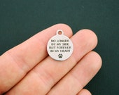 Pet Memorial Stainless Steel Charms - No longer by my side, but forever in my heart - Exclusive Line - Quantity Options - BFS47
