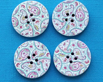 6 Large Wood Buttons Bohemian Abstract Design 30mm BUT286