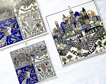 Vintage Jerusalem Souvenir Ceramic Tile Set Holy Land Hand Painted Decorative Mosaic Design Wall Tiles Biblical Images Old City Jerusalem
