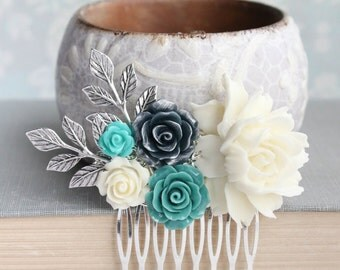Ivory Cream Rose Comb Teal and Navy Bridal Hair Comb Turquoise Flower Hair Piece Bridesmaid Gift Silver Branch Floral Collage Comb
