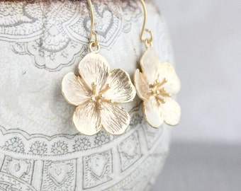 Cherry Blossom Earrings, Matte Gold Flower, Drop Earrings, Nature Jewellery, Floral Jewelry, Womens Fashion Accessories, Gift for Her