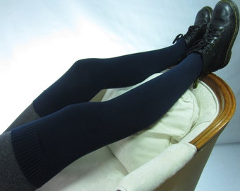 Navy Blue Thigh High Socks Over the Knee Leg Warmers Footless Boot Socks A1646