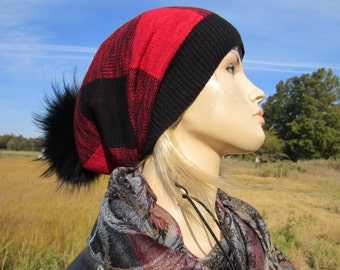 Real Fur Pom Pom bobble Hat Slouchy Beanie Buffalo Plaid Slouch Stocking Cap Black Red Cotton Knit Tam Baggy Long Hats A1571