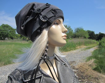 Post Apocalyptic Clothing Slouchy Beanie Hat Black /Charcoal Gray Cotton Distressed Leather Belts Acid Washed Skull Cap  A1972