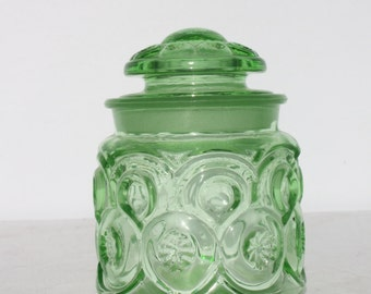Vintage Green Glass Canister Jar Decorative Embossed Jar Small LE Smith Moon and Stars