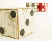 Rustic Black and White Giant Wooden Dice Candle Holder Red and White Wood Block Paper Weight Vintage Home Decor Natural Wood Home Items