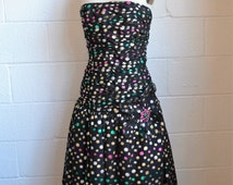 Vintage Metallic Party Dress Victor Costa Dress 1980s Prom Dress Black Lame with Multi Color Polka Dots Strapless Drop Waist Size Small