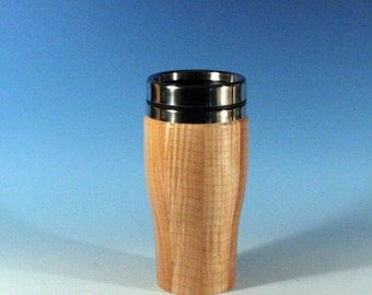 Figured Maple Travel Mug with a Stainless Steel Insert and Sliding Sipper Top