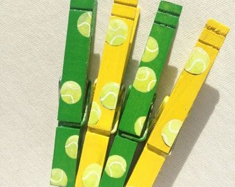 TENNIS BALLS hand painted magnetic clothespin set yellow green