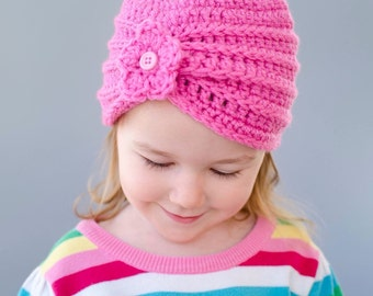 Pink Beanie Hat with small flower (fits babies to adults)