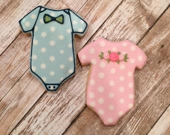 Baby Shower Onesie Cookie Favors - 1 dozen