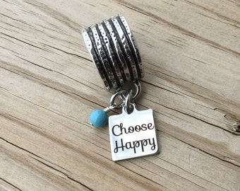 """Scarf Accessory, Decoration- """"Choose Happy"""" laser etched charm with an accent bead in your choice of colors"""