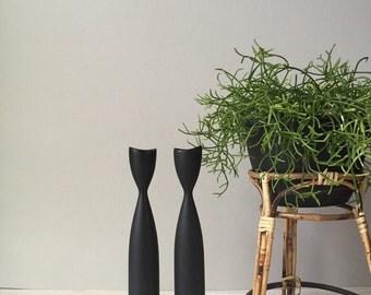 tall set of 2 scandinavian teak wood brass taper candleholders / candelabra