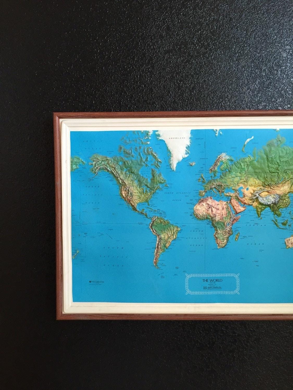 large vintage framed kistlers 1980 3D world map topography