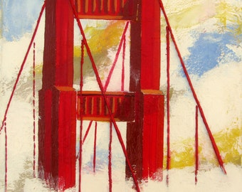 "Original Painting,Red Golden Gate Bridge in the fog, San Francisco, The Head in the Clouds,Mixed media, 11""x14"",  Free Shippind in USA."