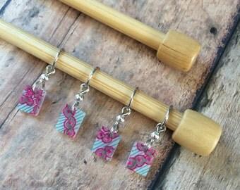 Hand Drawn Pink/Grey Knitting Stitch Markers - Lightweight set of 4