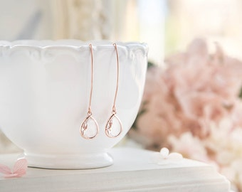 Rose Gold Bridesmaid Earrings, Clear Crystal Drop Earrings, Wedding Jewelry, Bridal Earrings, Bridesmaid Gift,  Birthday Gift for Her