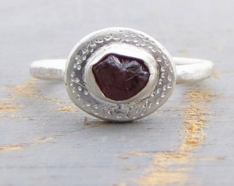 Garnet Silver Ring - Rough Garnet Ring -  Engagement Ring - Raw Garnet Ring