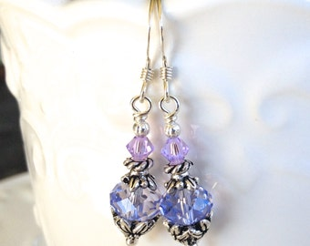 Lavender Violet Crystal Earrings in Silver