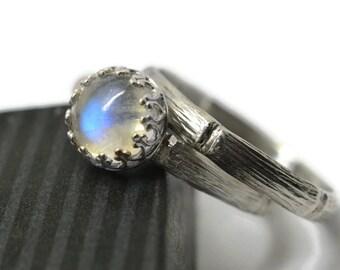 Gemstone Wedding Set, Natural Blue Moonstone Engagement Ring, Bridal Jewelry, Women's Silver Bamboo Wedding Band