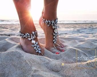 Beach Wedding/Barefoot Sandals/Bridal Crystal Ankle Bracelet/Boho Slave Feet Jewelry/Wedding Anklet/Bridesmaid Gift/Beach Bride/MABEL design
