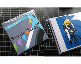 Bicycle Themed Card Pack of Four