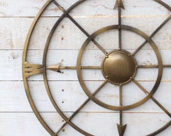 "21 "" Metal Compass-Iron Wall Decor-Entryway Decor-Beach Wall Art-Modern Home"