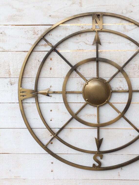 Vintage Compass Wall Decor : Metal compass iron wall decor entryway beach
