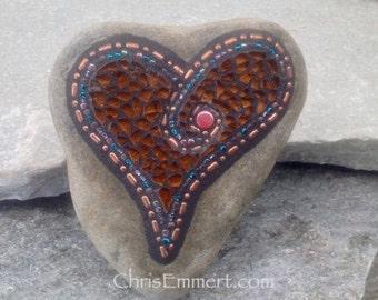 Mosaic Rock, Mosaic Heart, Copper Heart (C) Mosaic Garden Stone, Home Decor, Gardener Gift, Garden Decor,