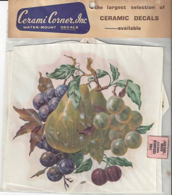 Vintage cerami corner fruit decals 1970s from for Telephone mural 1970