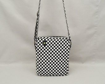 Black and White Checkered Small Crossbody Bag, Zipper Top Closure, Rude Girl Mod