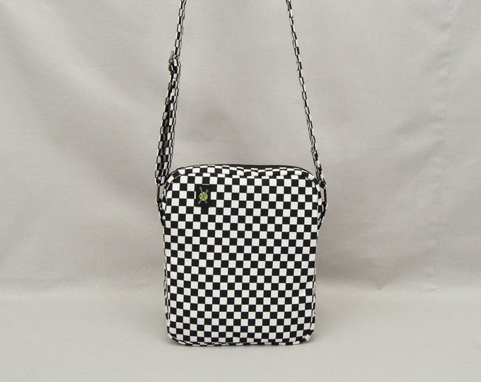 Black and White Checkered Small Crossbody Bag, Fabric Purse, Rude Girl Mod, Zipper Top Closure, Pockets
