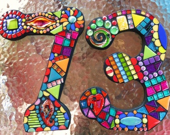 """MOSAIC HOUSE Numbers '73' or '37' - 11"""" Tall - 'Wild & Funky' Style - Complete and Ready-to-Ship!  This Listing is for BOTH Numbers  / Ooak"""
