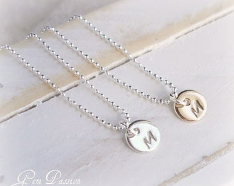 Tiny Initial Necklace, Ball Chain, Sterling Silver, 14k Gold filled, Choose disc/chain/initial Custom Hand Stamped Handmade Tiny Charms
