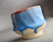 Yunomi Mug Mottled Blue Red Stoneware Tea Coffee Mug by Symmetrical Pottery