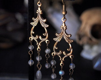 Antique Brass Labradorite Fairytale Earrings Gold and Stardust 2 3/4 inches