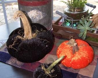 Primitive Halloween Pumpkins SET of 3; Black and Orange or Purple and Orange Velvet Pumpkins from Darlas Closet