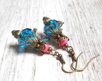 teal earrings flower earrings pink earrings vintage style earrings bronze earrings dangle earrings vintage inspired earrings boho earrings