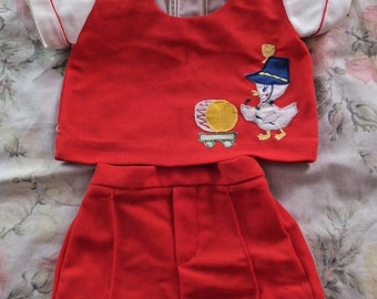 Vintage Baby Boy Infant Embroidered Applique Duck Marching Band Shorts Top Set